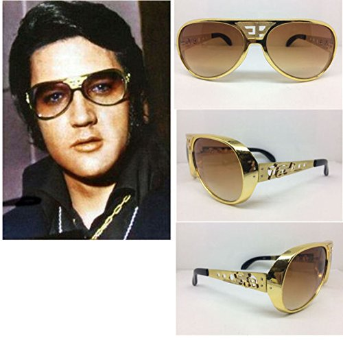 ELVIS SUNGLASSES GOLD BROWN ORIGINAL GOLD EP TCB GRAND PRIX - Tcb Sunglasses