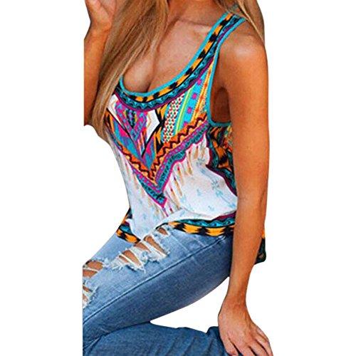 CHN'S Women Summer Print Vest Top Sleeveless Blouse Casual Tank Tops T-Shirt (US 14, Aztec - Aztec Tank