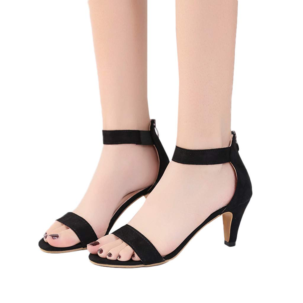 415702f38 Amazon.com  Women s Heeled Sandals Ankle Strap Buckle Open Toe Mid Heel  Sandals Party Shoes  Clothing