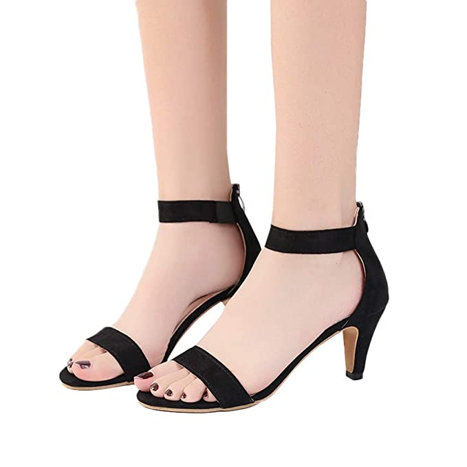 f8d9a49a6 Women s Heeled Sandals Ankle Strap Buckle Open Toe Mid Heel Sandals Party  Shoes (Black -