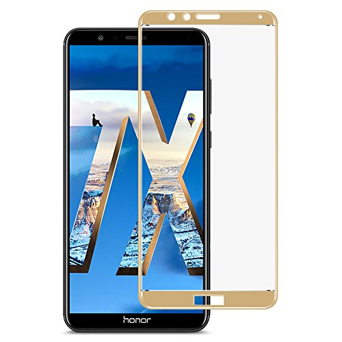Huawei Honor 7X Screen Protector,Full Cover Huawei Mate SE Phone Tempered Glass Screen Protector with ABS Curved Edge Frame, Anti-Fingerprint HD Screen Protector for Huawei Honor 7X/Mate SE (Gold)