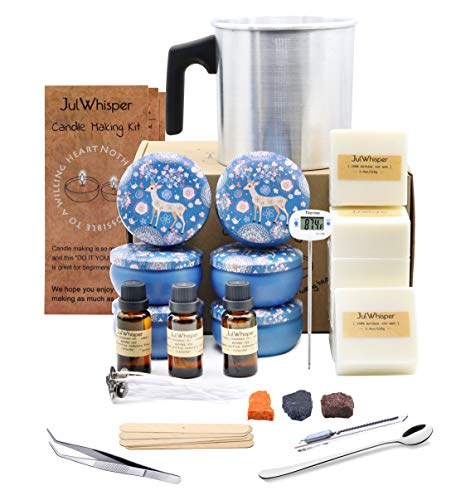 Complete Candle Making Kit Supplies to Create 6 Large Scented Candles - Candle Craft DIY Beginners Set with Soy Wax, Melting Pitcher, Rich Scents, Thermometer, Tins, Dyes, Wicks and More