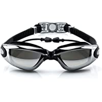 Waterproof Swim Goggles Swimming Pool Glasses Strap Clear Lens for adult Men Women Kids Youth No Leaking anti Fog Safety UV Protection-Black