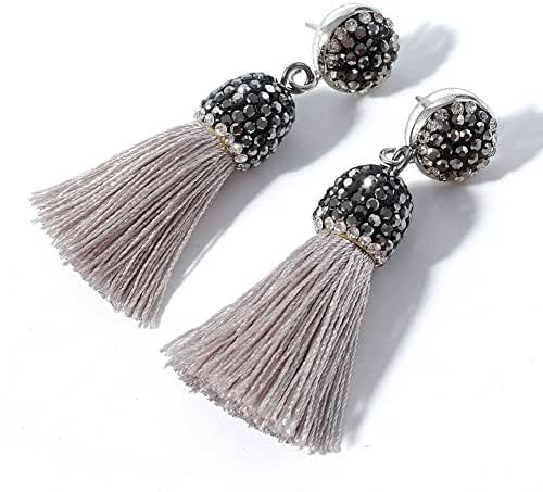 Women's Dangle Drop Short Tassel Earrings with Shell Pearl Black Rhinestone Top