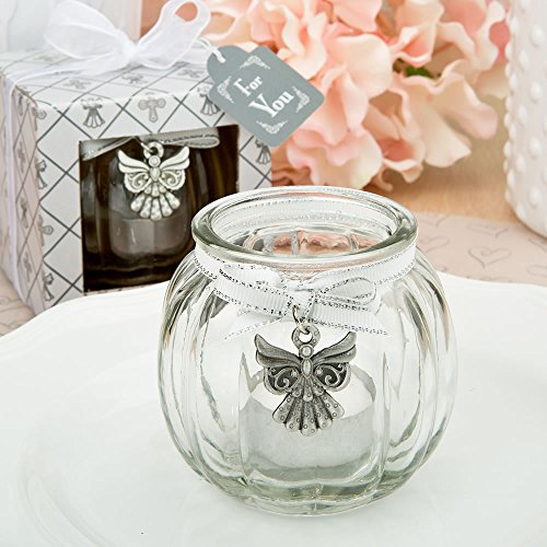 Guardian Angel Glass Top Table (Angel themed clear glass round globe candle holder (24))