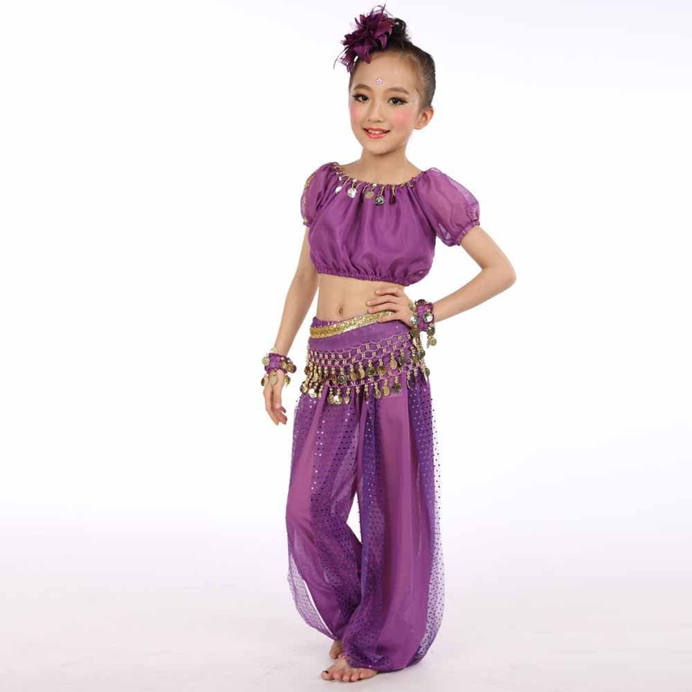 Lonshell Girl Belly Dance Costume Outfit Chiffon Tops Pant Suit Arabian Children Princess Egypt Dance Performance Clothing