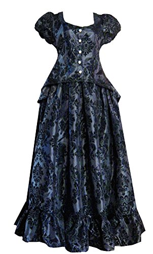 [Victorian Valentine Steampunk Gothic Victorian Civil War Black Top & Skirt Dress (L)] (Victorian Era Womens Costumes)