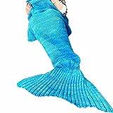 Mermaid Blanket,Ledafei Knitted Mermaid Tail Blanket,Warm Sofa Living Room Blanket for Adults (Adult Blue,70.8