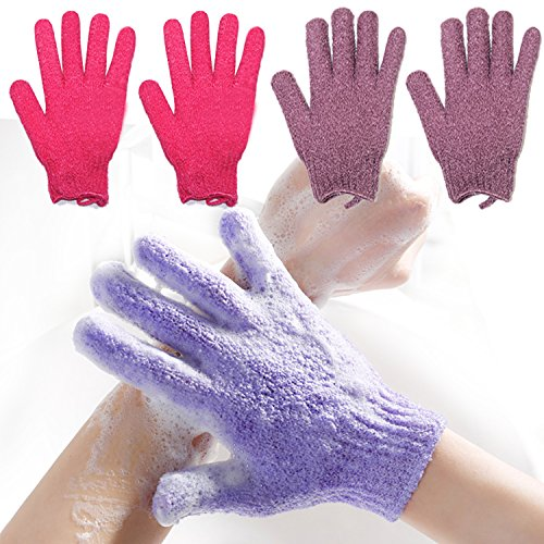- 2 Pair Exfoliating Body Gloves Bath Scrub Wash Mitts Skin Massage Sponge Towel Deep Cleansing Dead Skin Brush Scrub Luxury Spa Loofah (red&purple)
