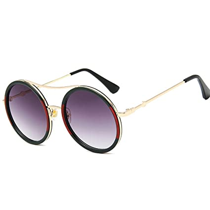 KOMEISHO Novedad diseñador Tonos Gafas de Sol Redondas de la Personalidad  Red   GreenFrame Lady Gafas f3e1c7d8e933