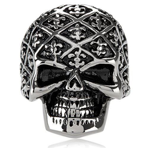 West Coast Jewelry | Crucible Stainless Steel Fleur de Lis Skull Ring (31mm) - Size 12