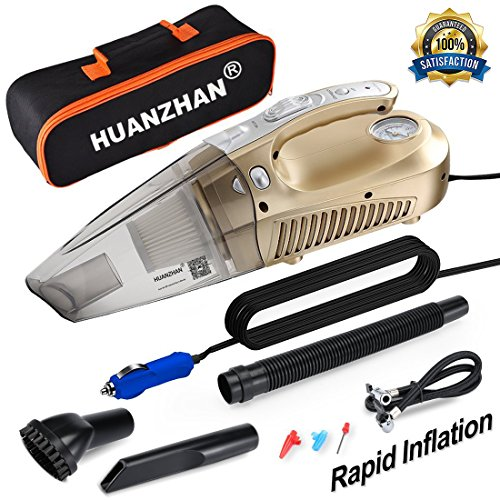Car Vacuum Cleaner,4 in 1 Handheld Vacuum--Portable Vacuum H-Zonealph DC 12V 106W 5000 Pa Wet/Dry Car Vacuum Cleaner High Power,With Tire Inflator,Tire Pressure Gauge ,Floodlight - Upgraded(Gold)