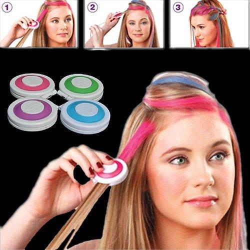 Hair Dye gLoaSublim, 4pcs Fashion Christmas DIY Temporary Wash-Out Dye Hair Chalk Powdery Cake