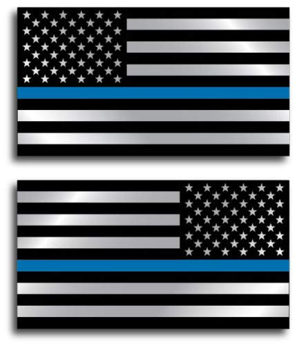 2 Pack Thin Blue Line Decal Sticker Vinyl Car Truck Jeep Police TBL 3M Bumper Officer Fallen Back The Blue Army Military Navy Marines Air Force