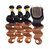 Brown Ombre Brazilian Hair 3 Bundles With Closure,Brown Ombre Human Hair Body Wave With Lace Closure (T1B/30,18 20 22+16)