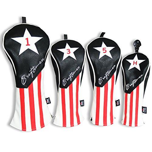 Craftsman Golf Three-Piece Design Black White Pu Leather Red Stripe Star Driver/Fairway Wood/Hybrid Headcover #1#3#5 H for All Brands Callaway Big Bertha Cobra Nike Taylormade Ping Mizuno Titleist