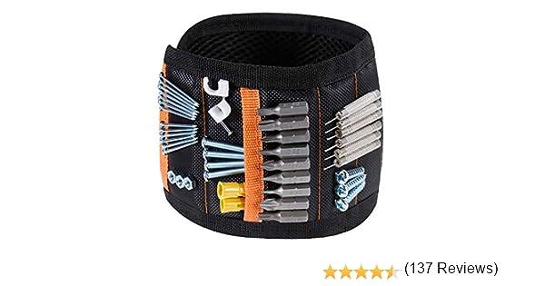 Rovtop Pulsera Magnética Ajustable con 15 Súper Imanes, 2 Bolsillos Pequeños, para Ahorra las Manos, Fija Fácilmente Tornillos, Clavos, Brocas, Pernos, para Hombres y Maquinaria: Amazon.es: Bebé