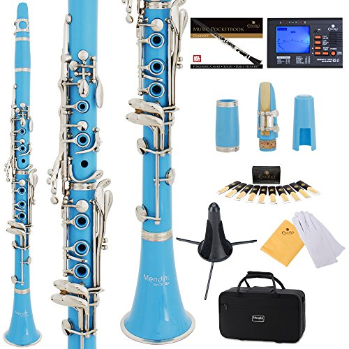 mendini-mct-sb-sd-pb-92d-sky-blue-abs-b-flat-clarinet-with-tuner-case-stand-mouthpiece-10-reeds-and-