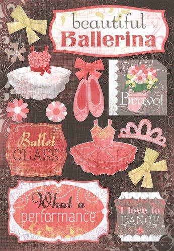 KAREN FOSTER 11518 Design Acid and Lignin Free Scrapbooking Sticker Sheet, Beautiful Ballerina