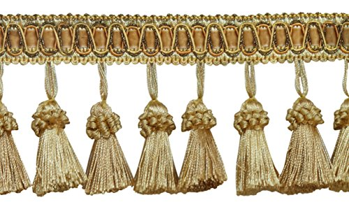 DecoPro 6 Yard Value Pack of Elegant 3 Inch Long Vintage Medium and Light Gold Tassel Fringe - Golden Rays 4875 (18 Ft / 6.5M) (Long Polyester 18')