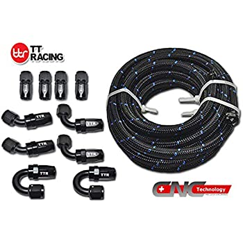20 Feet -10AN AN10 Steel Nylon Braided Oil Gas Fuel Hose Line & Black Swivel Fitting Kit NLAN10BK_KIT_DA