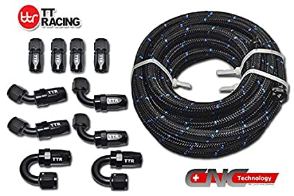 20 Feet -6AN AN6 Steel Nylon Braided Oil Gas Fuel Hose Line & Black Swivel  Fitting Kit NLAN6BK_KIT_DA