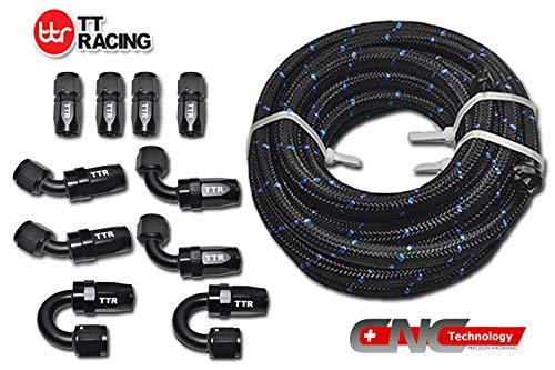 20 Feet -8AN AN8 Steel Nylon Braided Oil Gas Fuel Hose Line & Black Swivel Fitting Kit NLAN8BK_KIT_DA