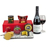 Red Wine and Cheese Hamper includes a fine Cotes Du Rhone Wine, a duo of 200g Cheese Truckles, Oatcakes and Pear and Plum Chutney all presented in a Fluted gift Box with FREE DELIVERY