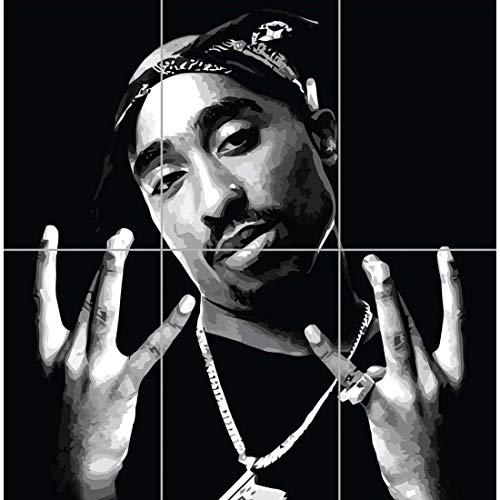 Doppelganger33 LTD 2Pac Tupac Shakur Hip Hop Rapper Poet Actor Activist Legend Music Wall Art Multi Panel Poster Print 35×33 inches