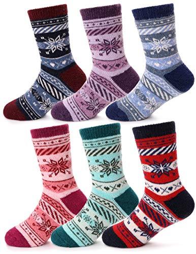 100 Floors Seasons Halloween Floor 15 (Girls Boys Wool Socks Thick Warm Thermal For Kid Child Toddlers Cotton Winter Crew Socks 6 Pairs (Snowflake, 1-3)
