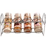 Himalayan Chef 4 Piece Pink Salt and Seasoning Glass Shaker With Standing Chrome Wire Rack
