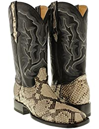 Mens Natural Genuine Python Snake Skin Cowboy Boots Square