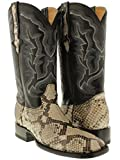 Cowboy Professional - Men's Natural Genuine Python Snake Skin Cowboy Boots Square 13.5 E US