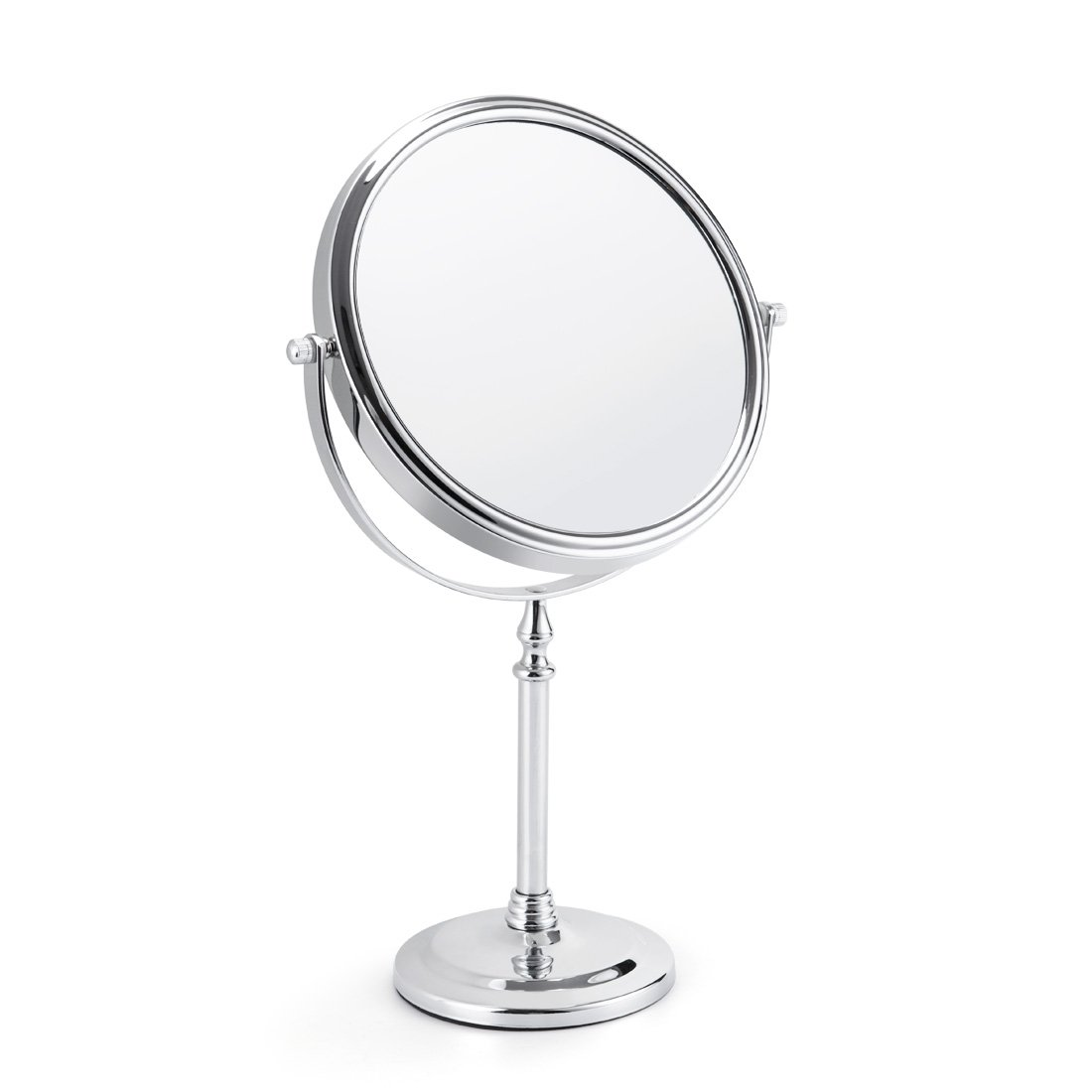 Makeup Vanity Mirror 5X Magnifying Two-side Tabletop Swivel Comestic Mirror Chrome Finish 15-inch Height Silver