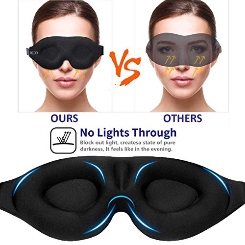 MZOO Sleep Eye Mask for Men Women, 3D Contoured Cup Sleeping Mask & Blindfold, Concave Molded Night Sleep Mask, Block Out Light, Soft Comfort Eye Shade Cover for Travel Yoga Nap, Black