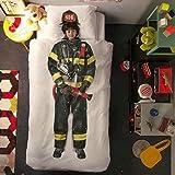 3D Queen Bed Quilt&Pillow Cover Set Spaceman Skater Firefighter Print Duvet Cover Spring Standard Throw 18x18 Pillow Cases Zipper Reading Sleep Home Sofa Couch Bed Car Baby Pillowcase (Firefighter)