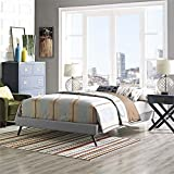 Modway Helen Queen Fabric Bed Frame with Round Splayed Legs, Light Gray