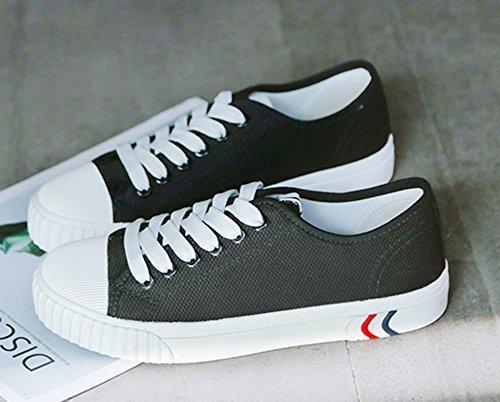 Aisun Damen Dicke Sohle Canvas Freizeitschuh Schnürsenkel Low Top Sneaker Schwarz