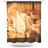 Westlake Art - Log Fireplace - Fabric Printed Shower Curtain - Picture Photography Waterproof Mildew Resistant Hook Bathroom - Machine Washable 71x74 Inch (390AA)
