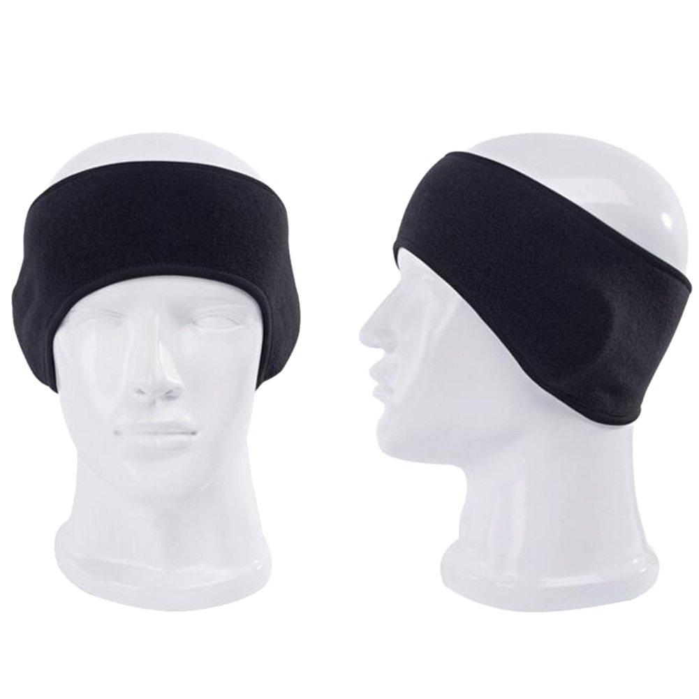 hugestore Unisex Uomo e Donna inverno caldo pile fasce fascia per capelli paraorecchie paraorecchie protezione orecchie nero