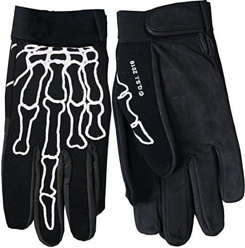 Hot Leathers Skeleton Finger Mechanic Gloves Black, Large