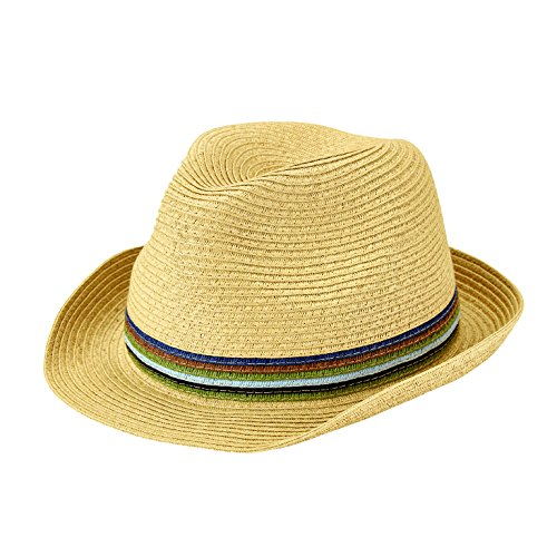 San Diego Hat Company Men's Ultrabraid Multi Color Inset Fedora Hat, Natural, OS (Fedora Diego San)
