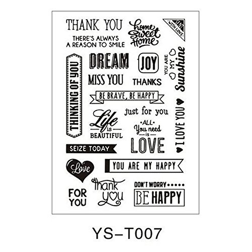 Clear Stamps Small Tag (MEXUD-Alphabet Transparent Silicone Clear Rubber Stamp Sheet Cling Scrapbooking DIY (YS-T007))