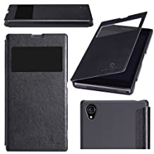 Nilkin Nillkin PU Leather Cover Matte Back Hard Case for Sony Xperia Z1 L39H - Black - Carrying Case - Retail Packaging - Black