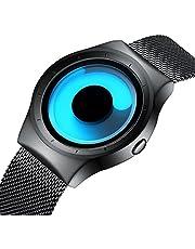 Mens Black Watches Men Waterproof Unique Design Cool Wrist Watch Stainless Steel Mesh Watch for Men Blue