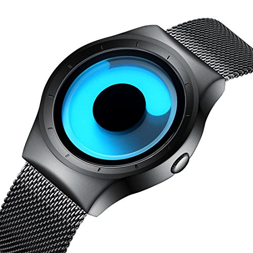 Mens Black Watches Men Waterproof Unique Design Cool Wrist Watch Stainless Steel Mesh Watch for Men - Cool Springs Mall