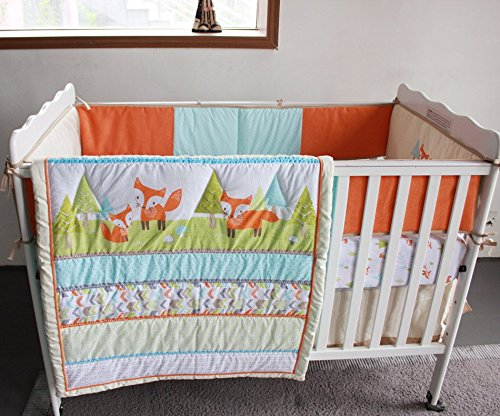 NAUGHTYBOSS Unisex Baby Bedding Set Cotton 3D Embroidery Prairie Fox Quilt Bumper Bedskirt Fitted Blanket 8 Pieces Color Matching by NAUGHTYBOSS (Image #5)