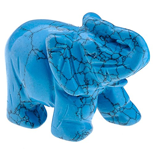 PESOENTH Carved Synthetic Blue Turquoise Gemstone Elephant Feng Shui Statue Wealth Lucky Healing Crystal Guardian Figurine Sculpture Crafts Home Decor,2 inch