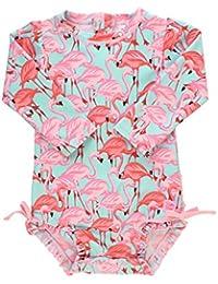 RuffleButts Little Girls Fab Flamingo One Piece Rash Guard - 3T