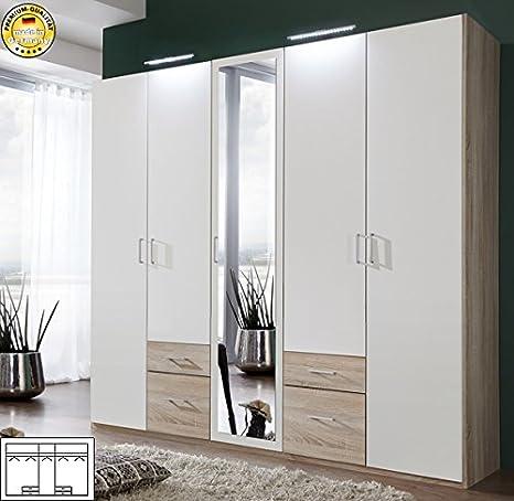 Armario ropero 325094 armario 5-puertas de madera de roble/blanco ...